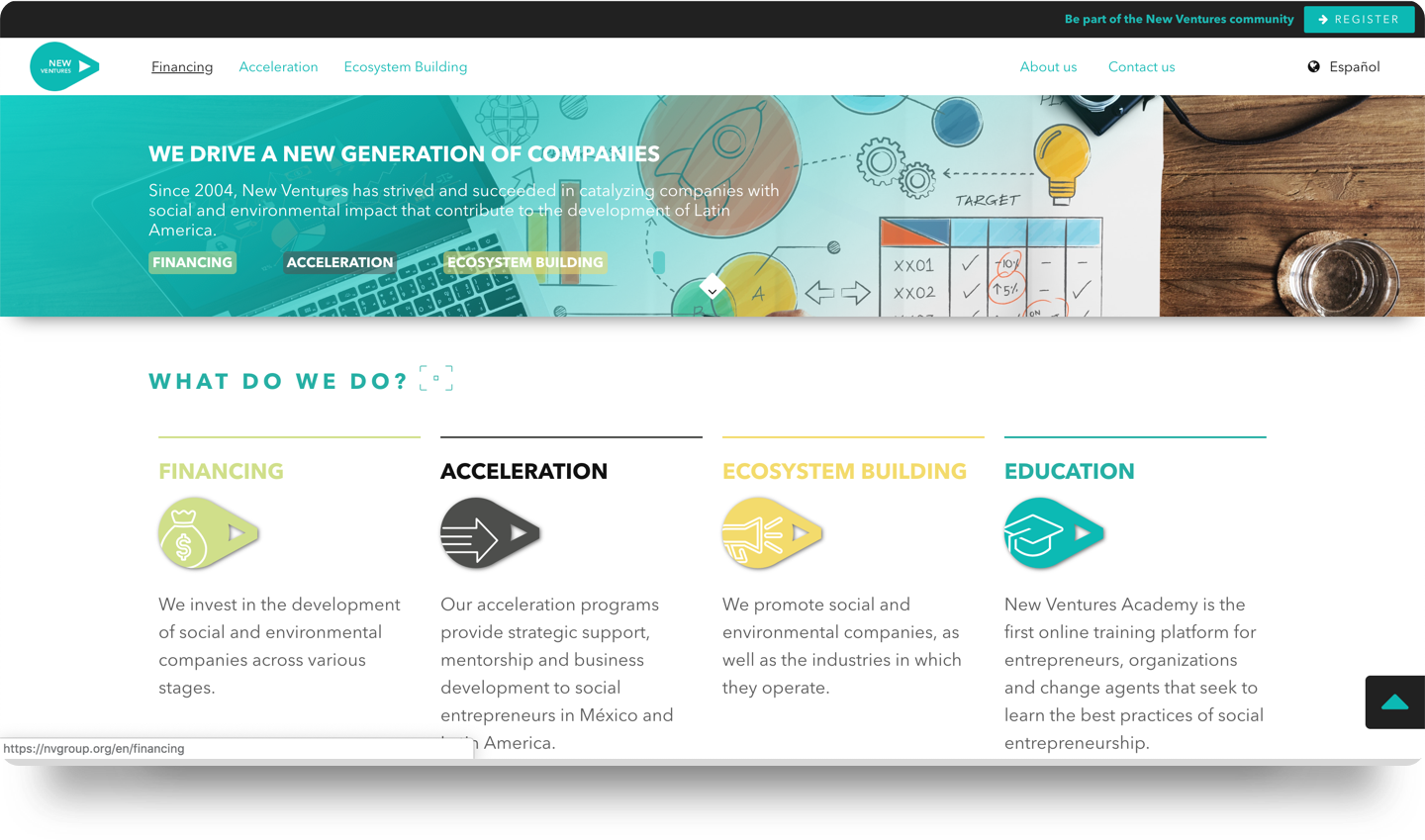New Ventures website screenshot