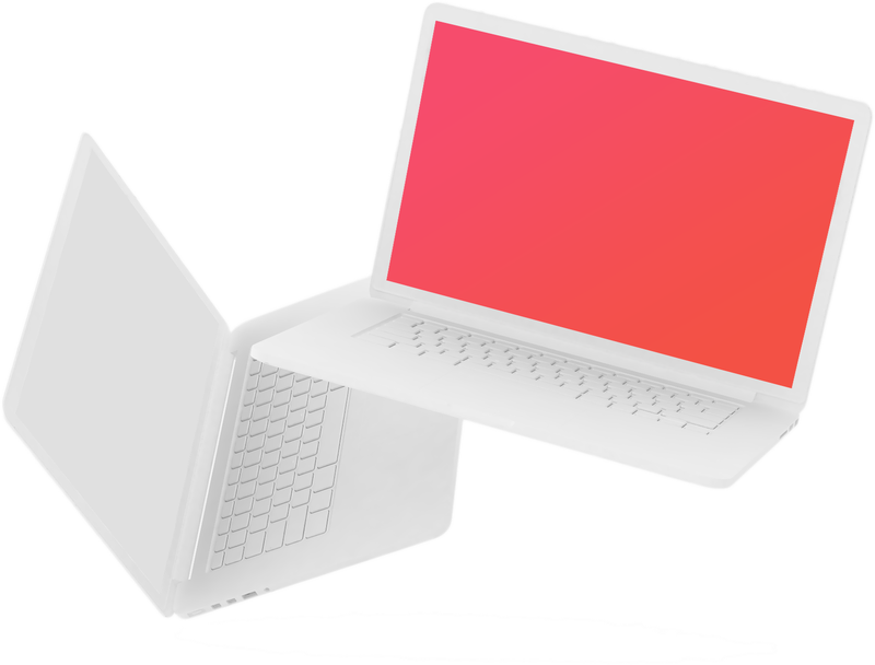 Floating laptops with red screen